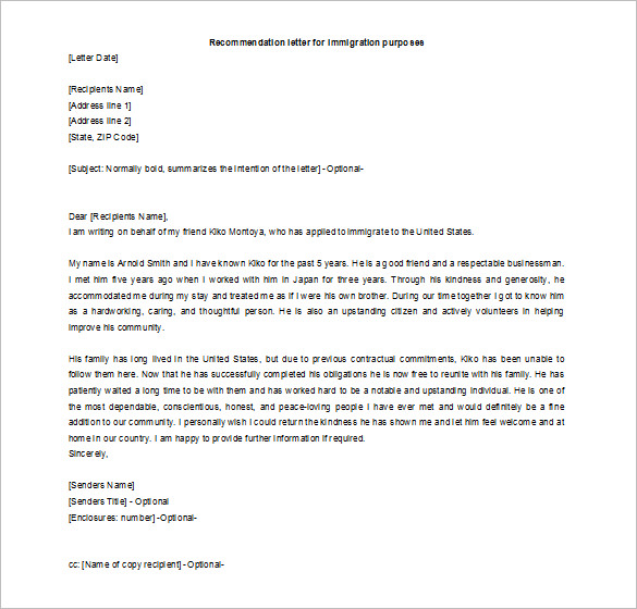 letter of recommendation for a friend for immigration Melo.in