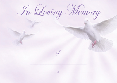 Designer Certificates Loving Memory certificates for bereaved