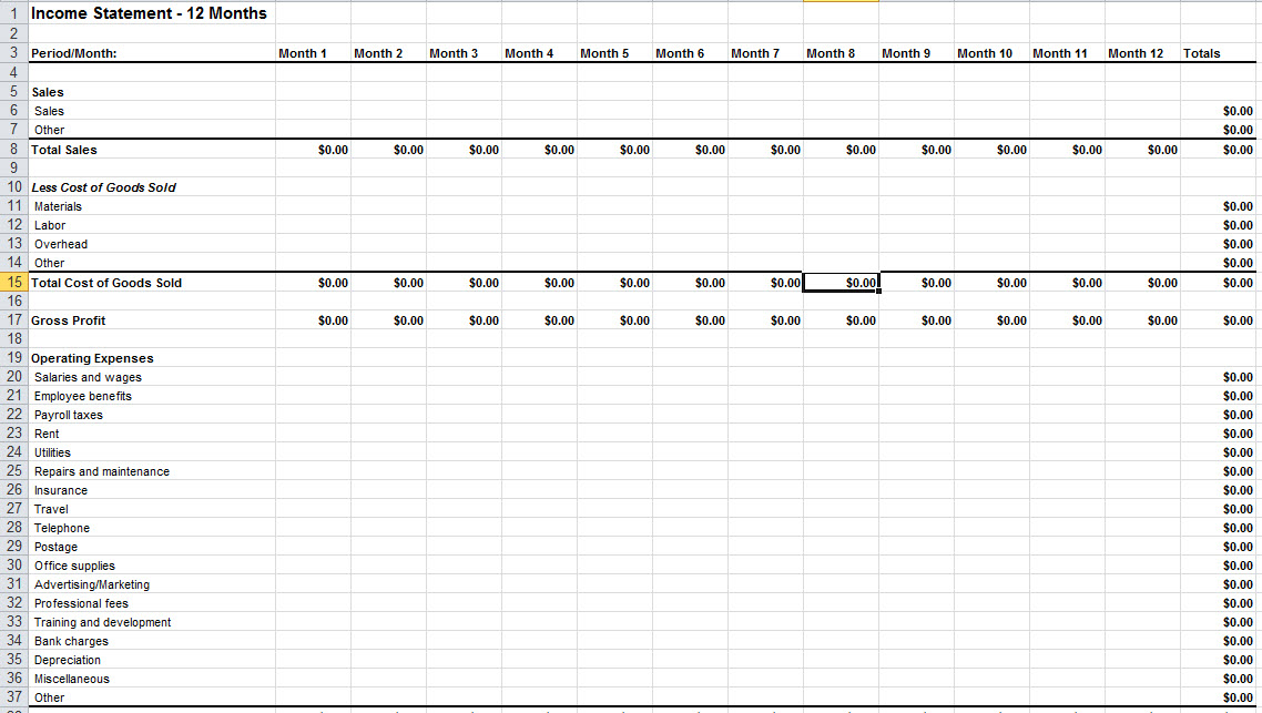income statement template excel Melo.in tandem.co