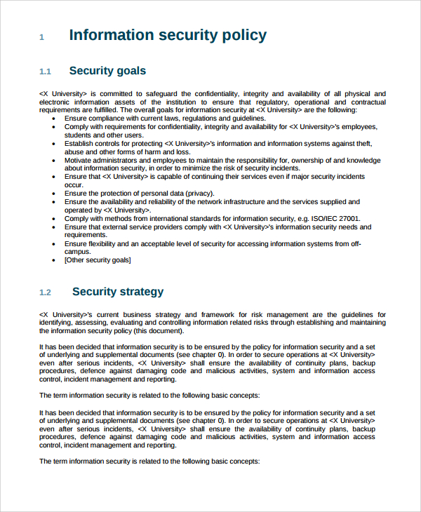 information security policy templates sample it security policy