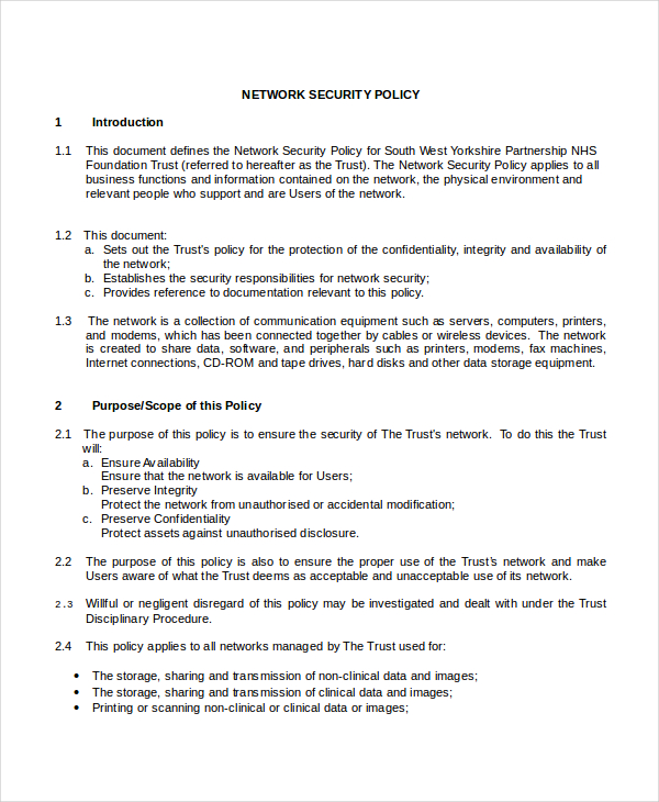 Security Policy Template 7 Free Word, PDF Document Downloads