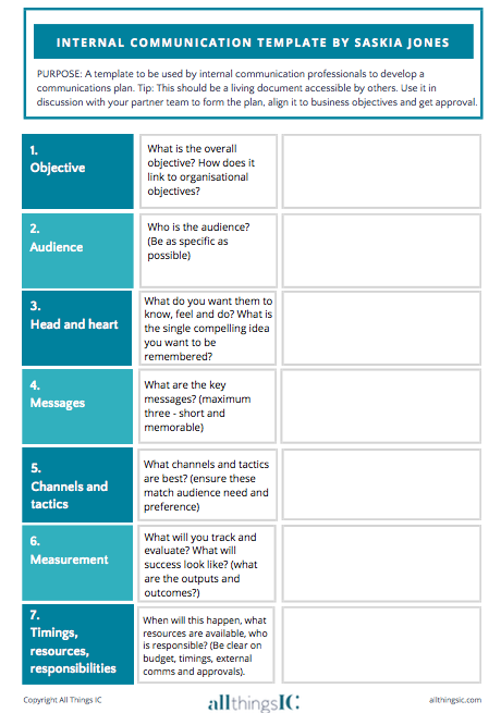 Free internal comms plan template | All Things IC