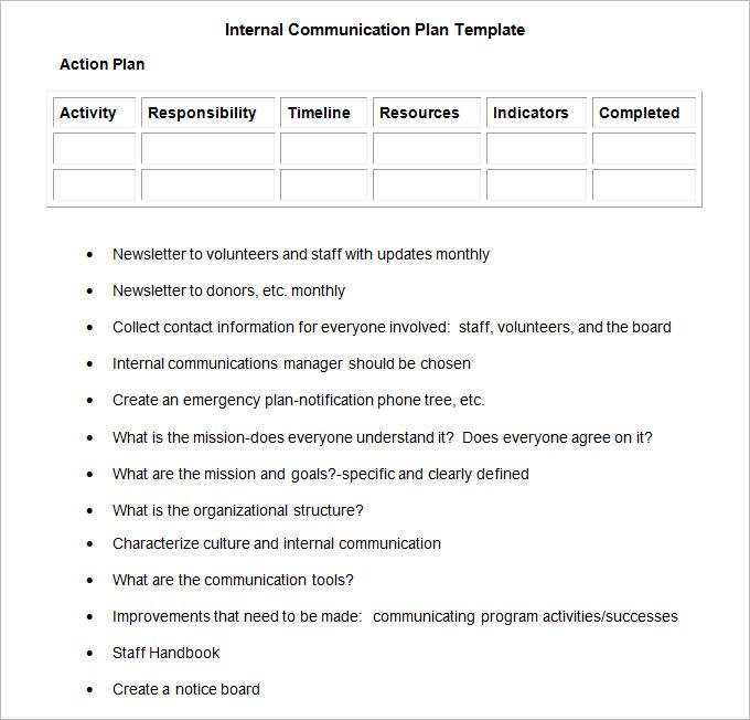 Internal Communication Plan Template 3 Fee Word, PDF Documents