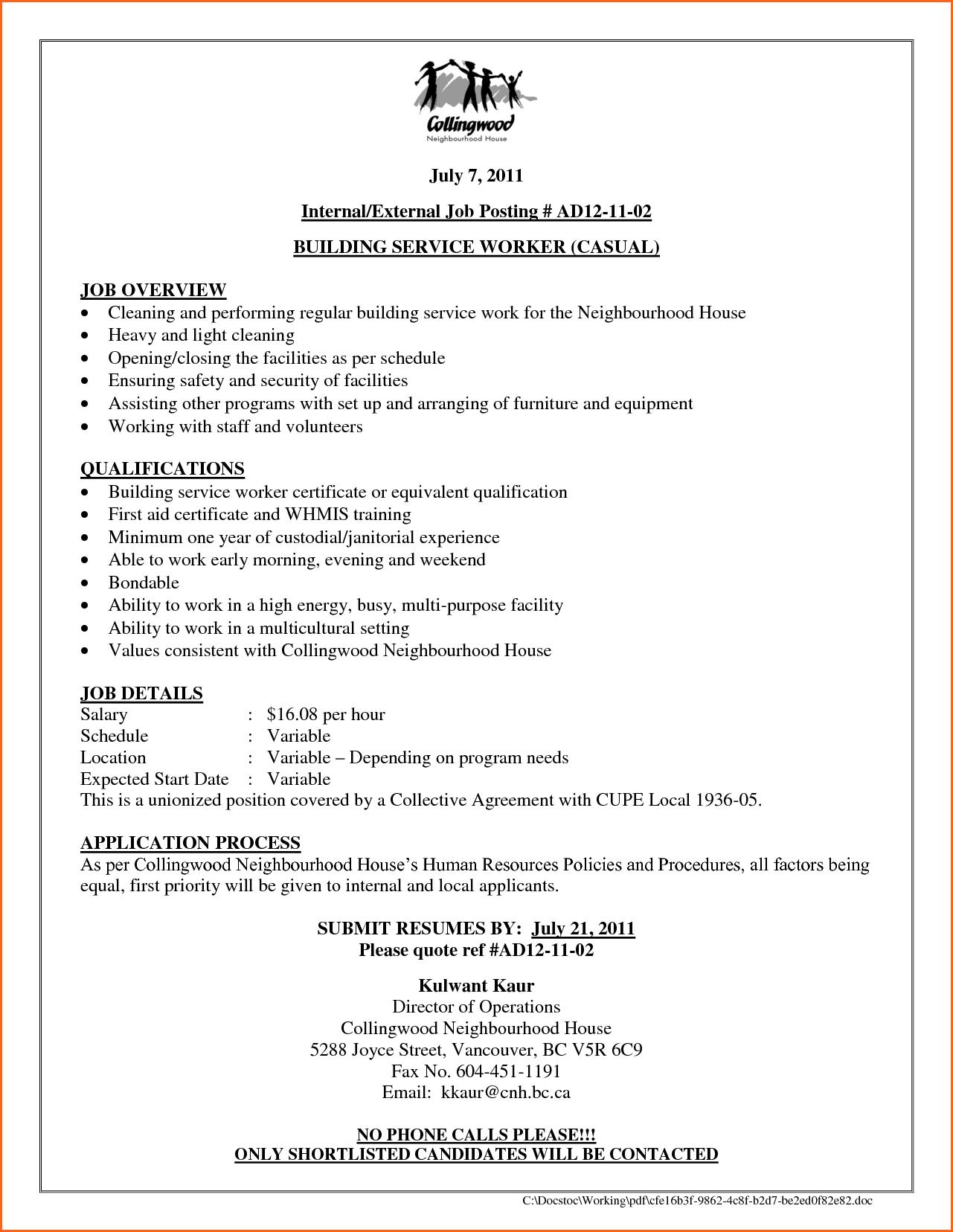 Cover Letter Internal Job Posting Sample