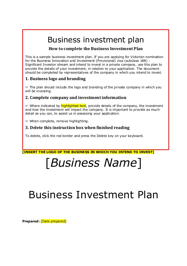 Siv business investment plan template