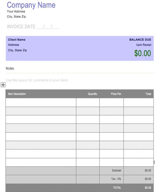 Invoice Template Docx | dascoop.info
