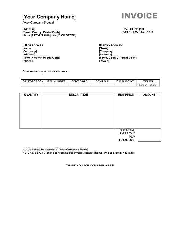 Free Blank Invoice Templates in Microsoft Word (.docx)