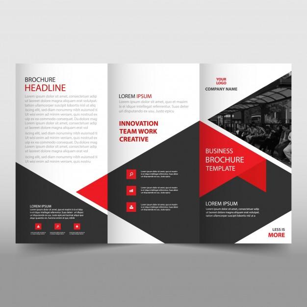Black orange business trifold Leaflet template Vector Image