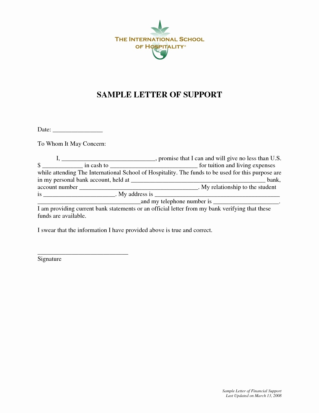 Letter Of Financial Support Template Gdyinglun.com