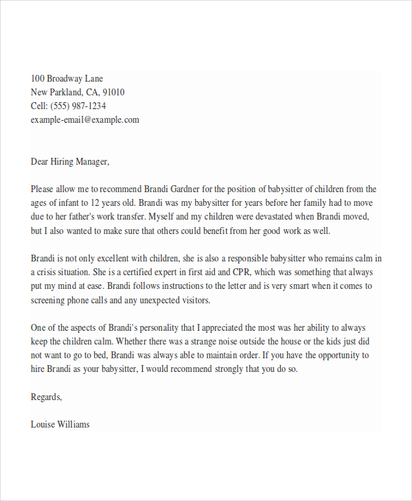 5+ Babysitter Reference Letter Templates Free Sample, Example