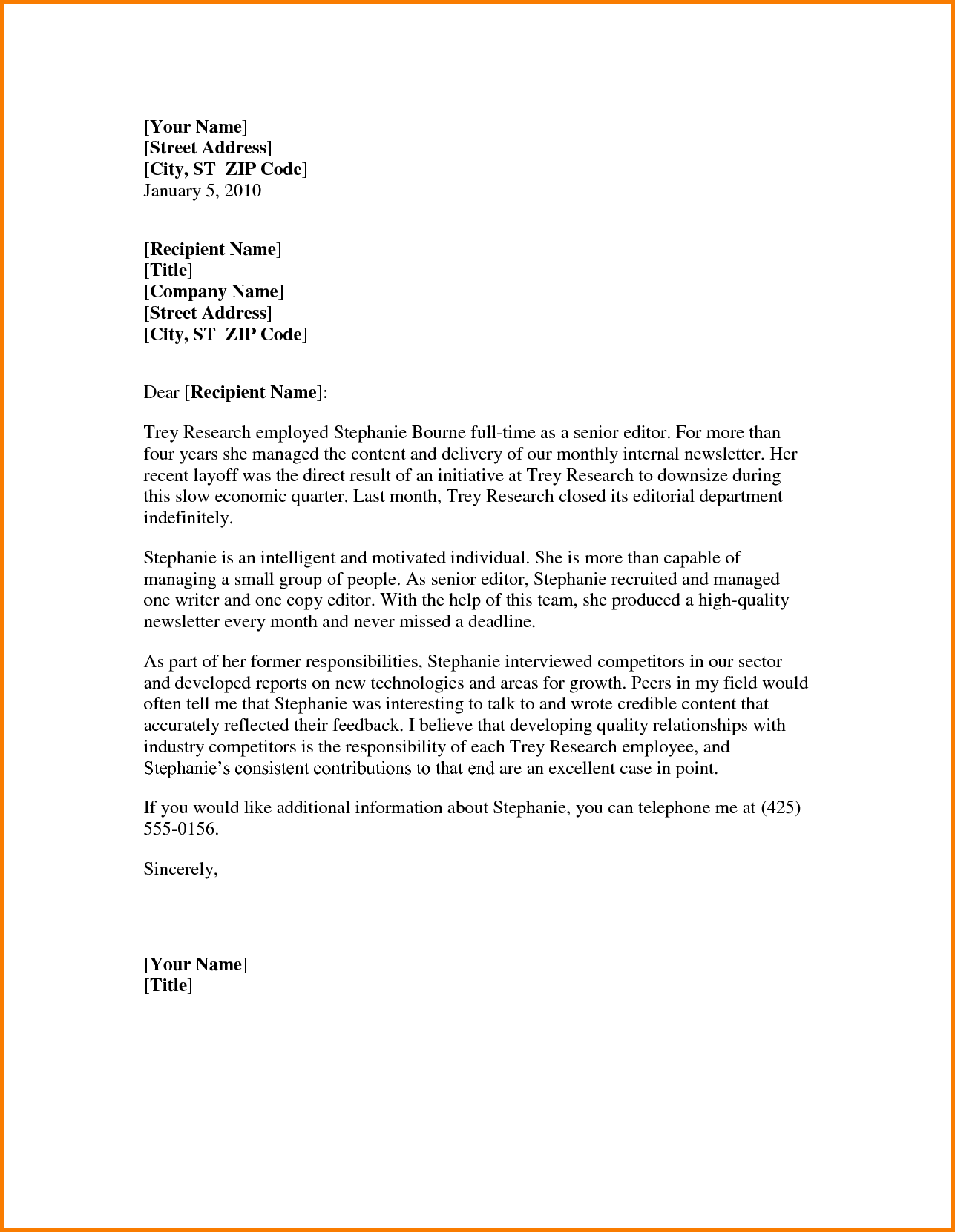 letter of recommendation template word Melo.in tandem.co
