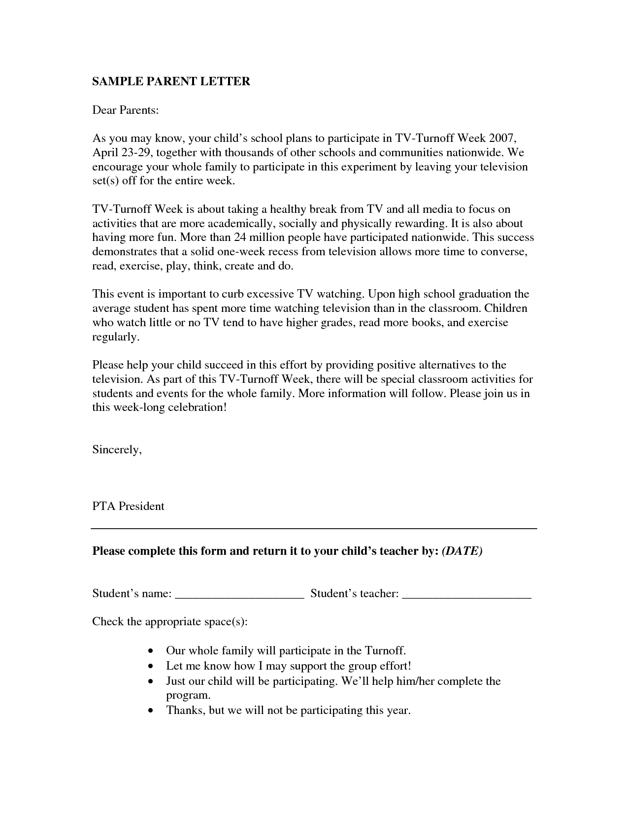 parent teacher letter templates. parent letters from teachers