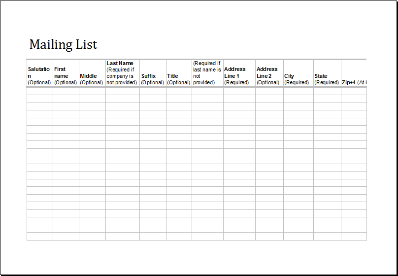 Excel Mailing List Fully Customizable Template | Excel Templates