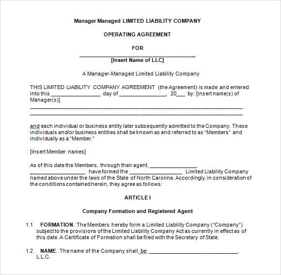 operating agreement llc oregon template member managed llc