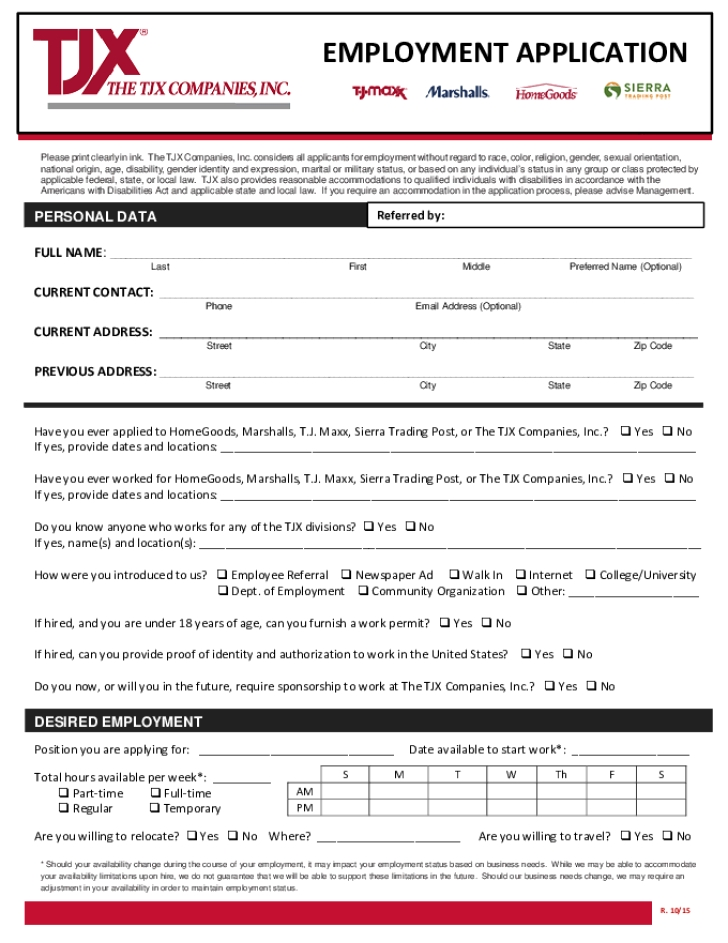 Marshalls Application Pdf Print Out Marshalls Job Application
