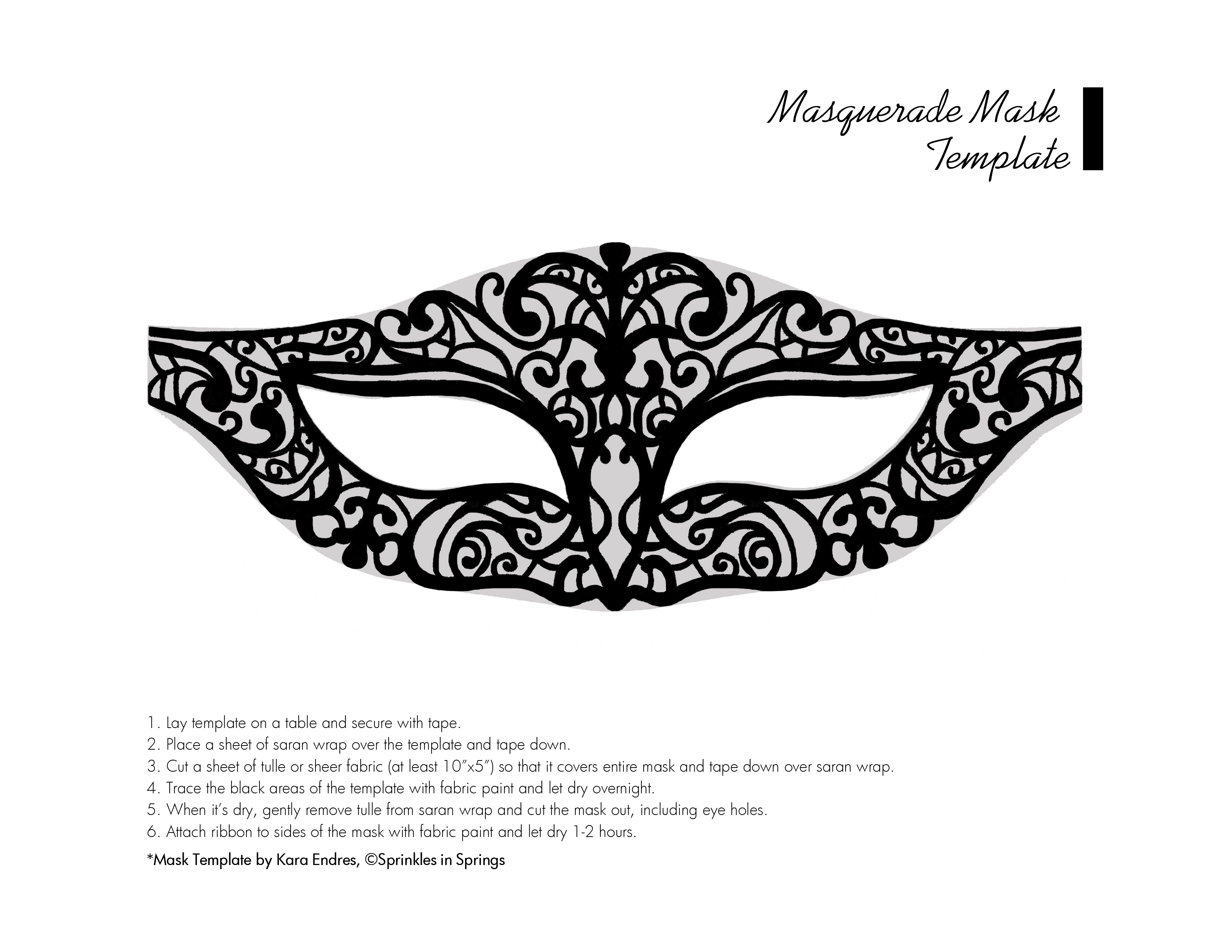 Masquerade Mask Template Printable | 8th Grade Dance | Pinterest