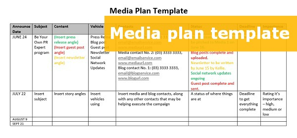 A FREE downloadable media plan template | Kellie O'Brien Media