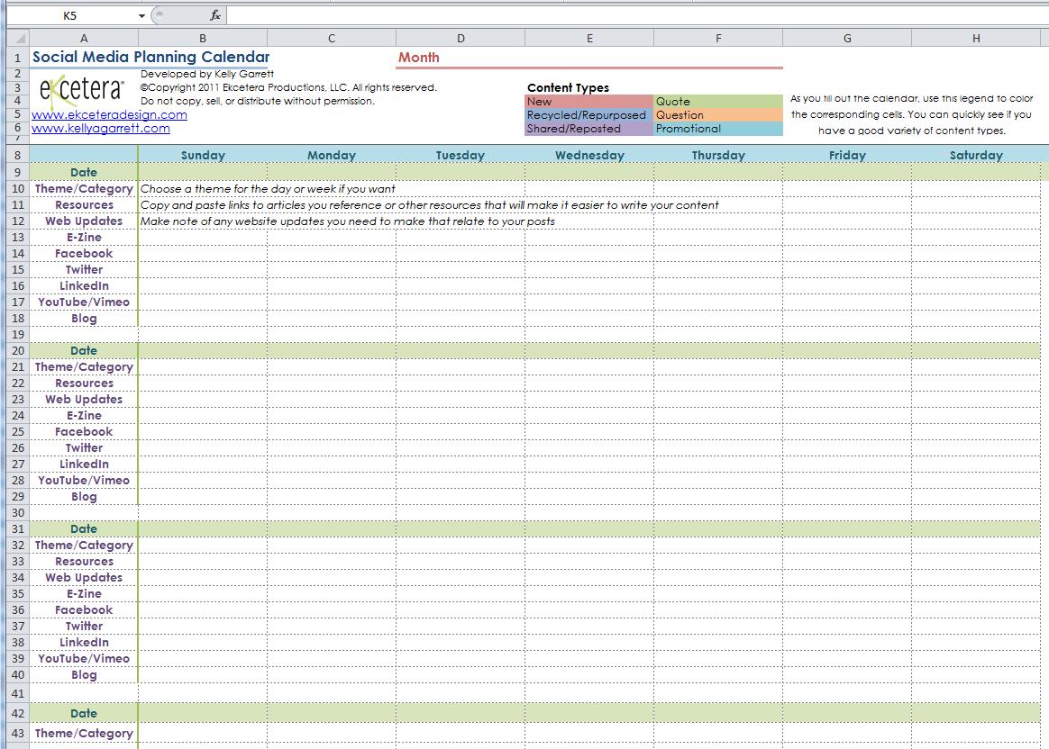 social media planning calendar Melo.in tandem.co