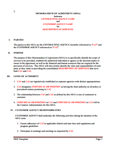 Memorandum of Understanding : Download, Edit, Fill & Print