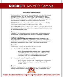 Memorandum of Understanding | MOU Template | Rocket Lawyer