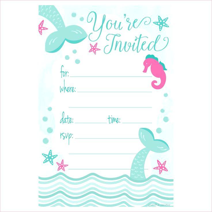 Free Mermaid Invitation Template Marvelous Mermaid Birthday