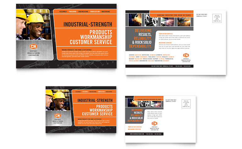 Manufacturing Engineering Postcard Template Word & Publisher