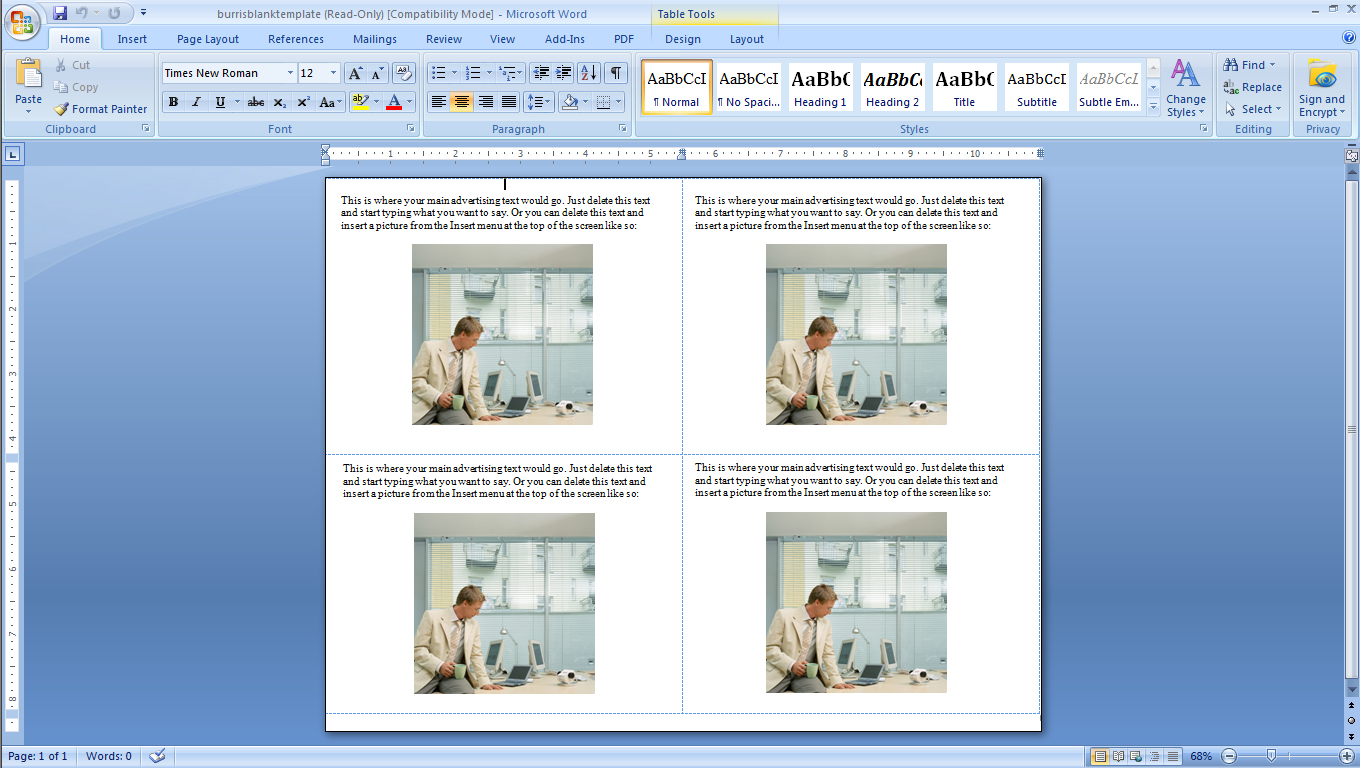 How To Make Four Postcards On The Same Sheet in Word. Burris