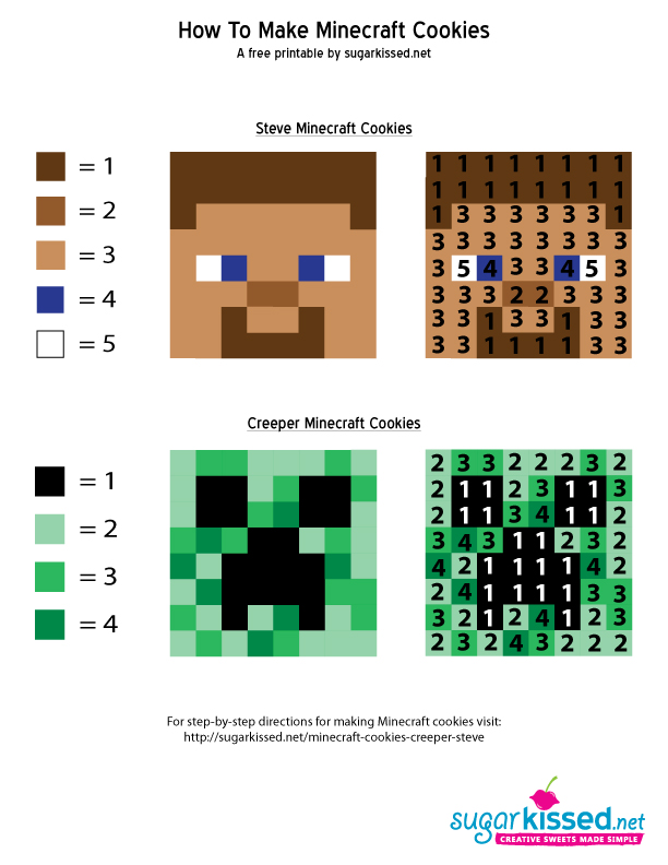 Minecraft Cookies Template 1 sugarkissed. sugarkissed