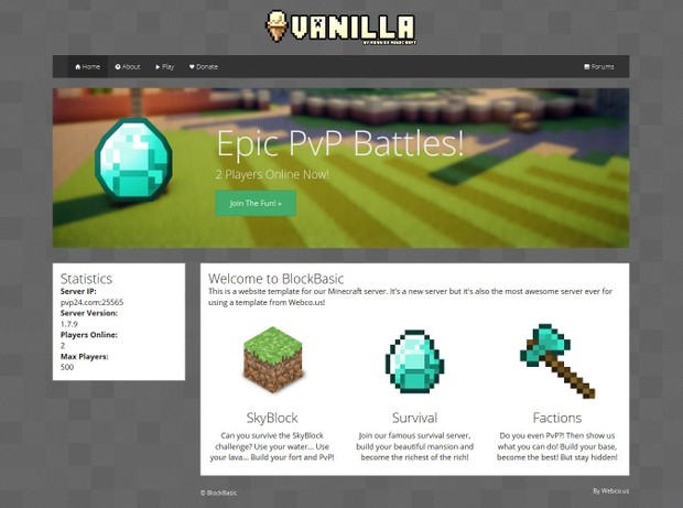 BlockBasic Minecraft Website Template Minecraft Website Templates