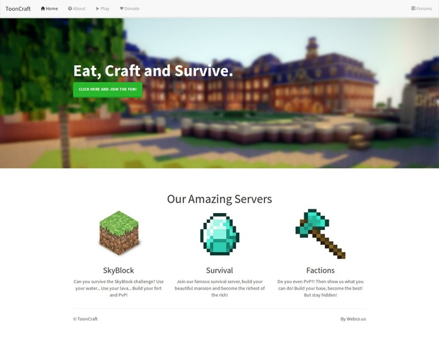 ToonCraft Minecraft Website Template Minecraft Website Templates