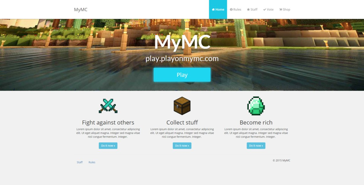free minecraft website template East.keywesthideaways.co