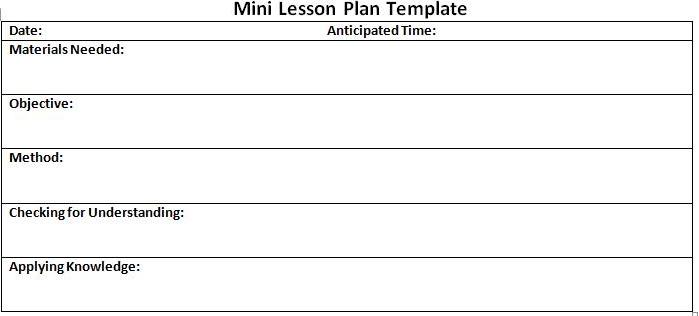 literacy west ny lesson plan template mini lesson plan format