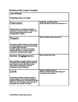 Reader's and Writer's workshop minilesson template FREEBIE | TpT