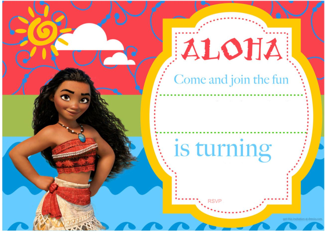 Free Printable Moana Birthday Invitation and Party Ideas | Free