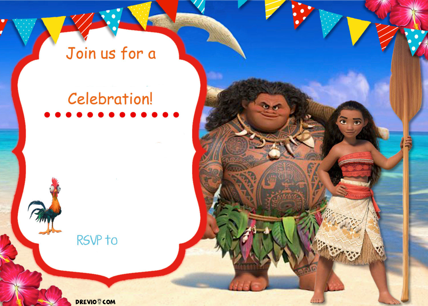 Free Moana Birthday Invitation Template | FREE Invitation