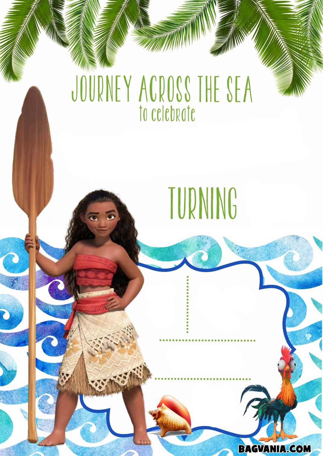 Free Printable M Awesome Moana Birthday Invitation Template