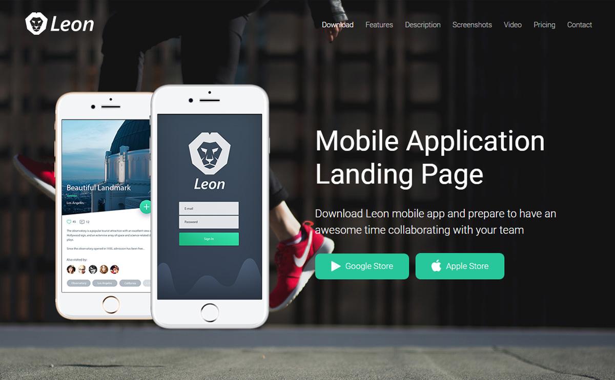 Leon Mobile App Landing Page Template