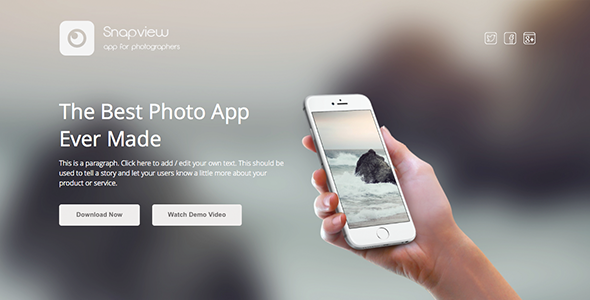 Snapview Mobile App Landing Template by Muse Master | ThemeForest