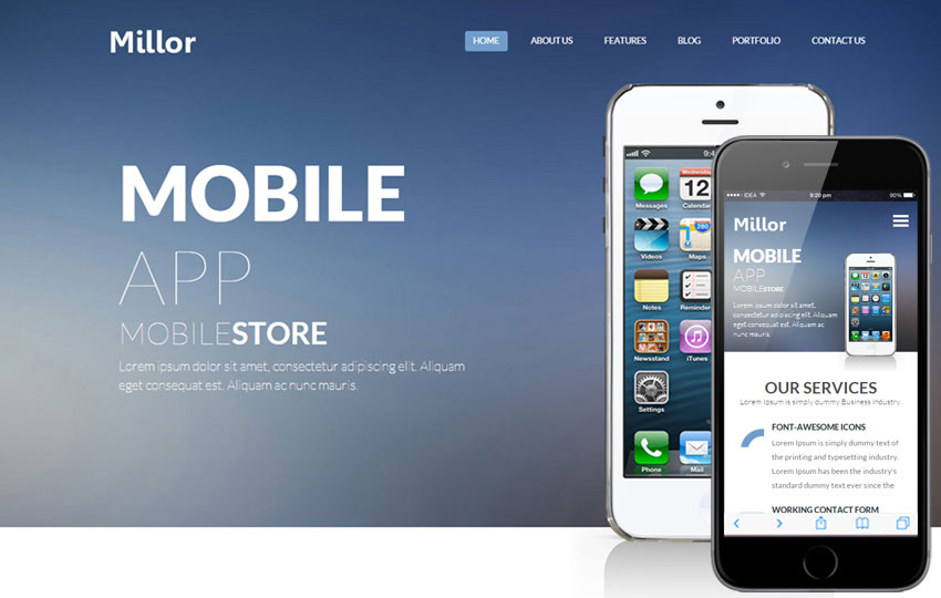 Millor a Mobile App based Flat Bootstrap Responsive Web Template