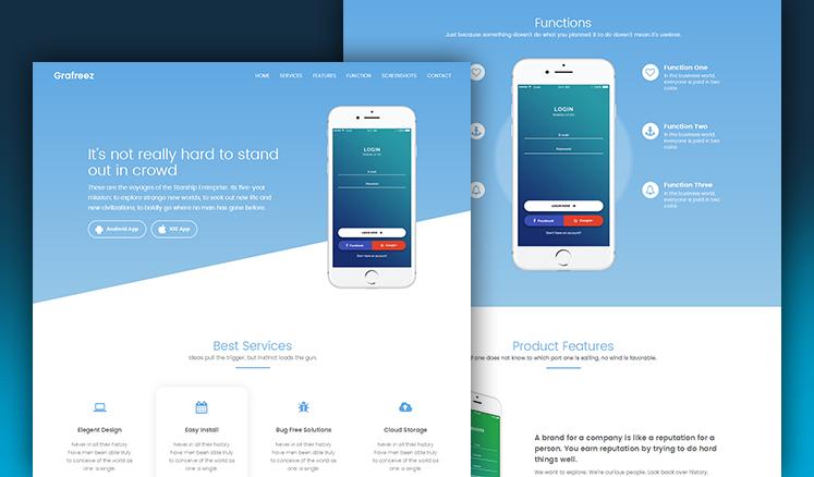 Manjhi Mobile Landing Page Template in Bootstrap Grafreez