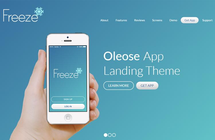 Oleose Eye Catching Mobile App Landing Page
