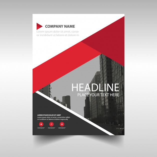 Modern brochure template with red geometric shapes Vector | Free