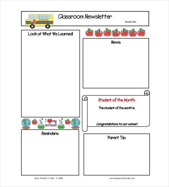 Free Monthly Newsletter Templates Free Classroom Monthly