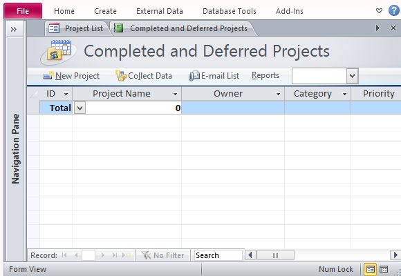 microsoft access project management template free project