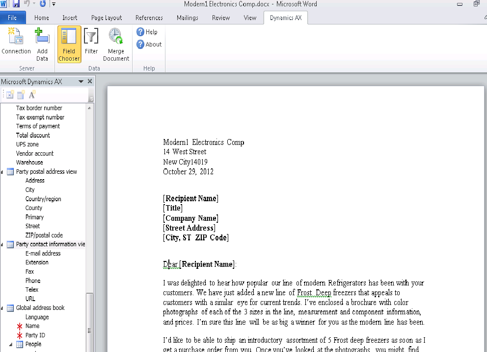 ms word email template