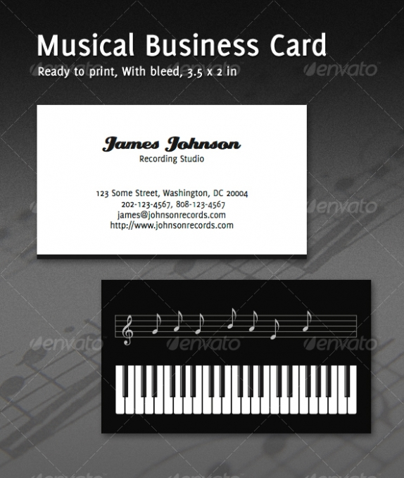 music business card template music card design cardview business