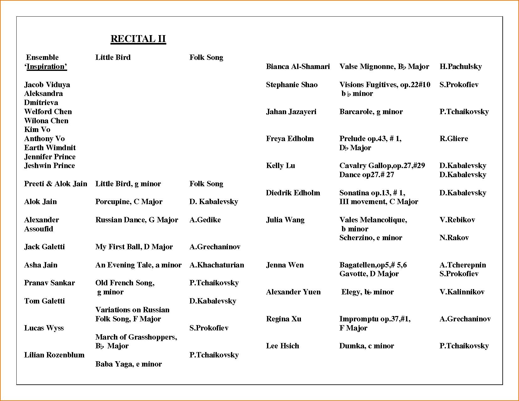 music recital program template Melo.in tandem.co