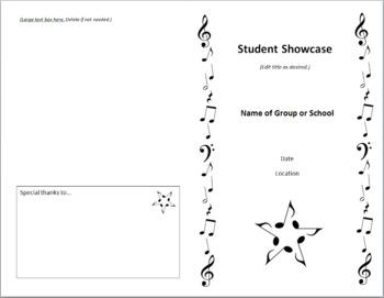 Concert Program Template Quick & Classy Includes Music Clip Art