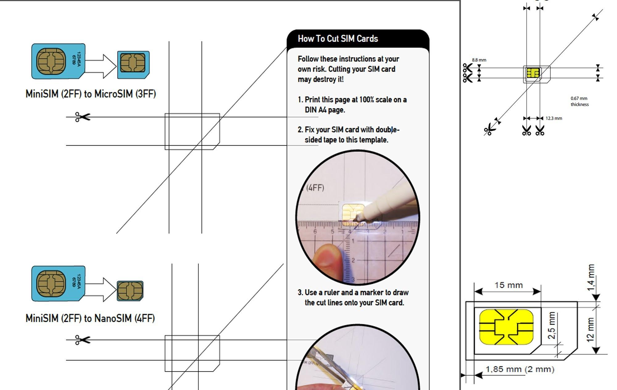 Micro SIM To Nano SIM Template SIM cutting guide
