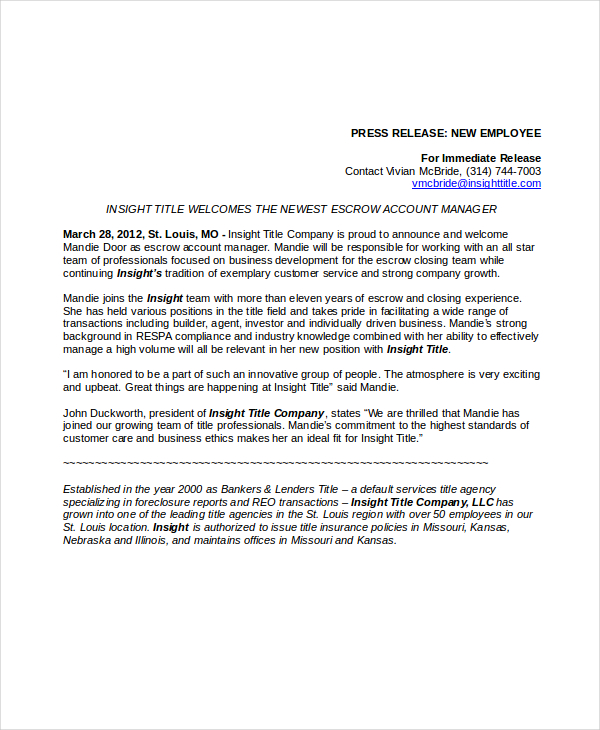 22+ Press Release Template Free Sample, Example, Format   Free